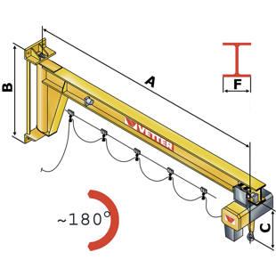 Braccio girevole per paranco pompa depressione for Braccio per paranco elettrico