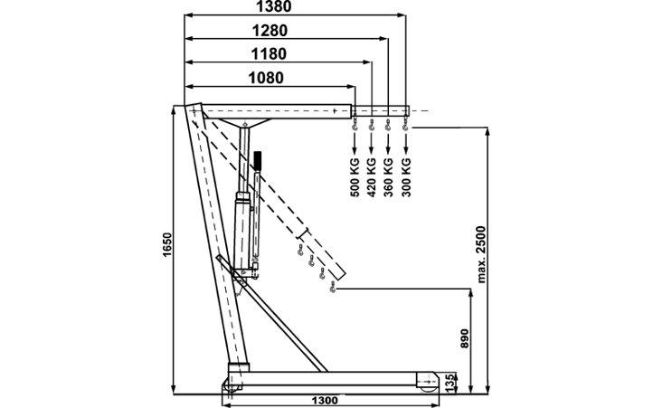 Gruetta idraulica da officina con prolunga jib e zavorra for Apparecchi di illuminazione per bungalow