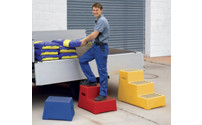 Plastic steps with non-slip step surface