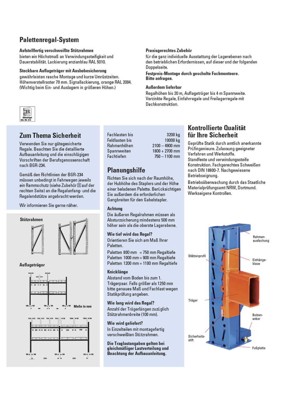 palettenregal st tzrahmen traglast max 10000 kg m3620 kaiser kraft schweiz. Black Bedroom Furniture Sets. Home Design Ideas