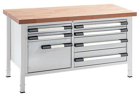 werkbank h henverstellbar breite 1500 mm 6 schubladen 1 t r. Black Bedroom Furniture Sets. Home Design Ideas