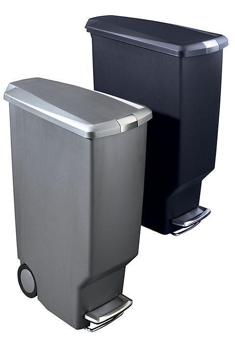 Cubo de basura con pedal de dise o slim step capacidad 40 l - Cubo basura pedal ...