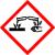 Trieda nebezpečných látok GHS05 – Korozívne pre kovy, žieravé pre kožu, vážne poškodenie očí