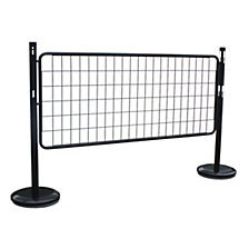 Barrier post set with mesh panel