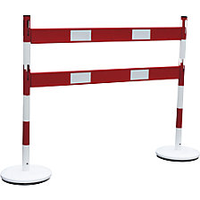 Barrier post set with rails