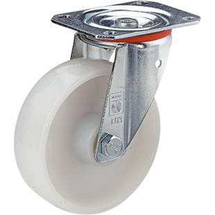 Nylon wheel, sheet steel housing