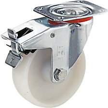swivel castor with wheel stops, roller bearings