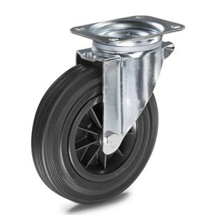 Solid rubber tyre on plastic rim