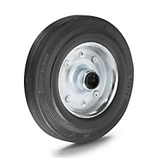 Solid rubber tyre on sheet steel rim