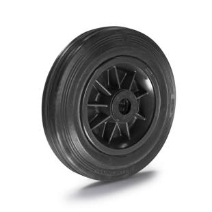 Solid rubber wheel on plastic rim