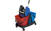 Modular cleaning trolley - mobile double bucket unit