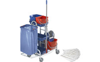 Stainless steel cleaning trolley