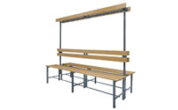 Cloakroom bench with hook rail and wooden seat slats