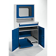 with narrow pull-out shelf and tower PC compartment