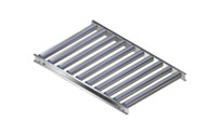Light-duty gravity conveyor with aluminium frame, aluminium rollers