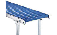Light-duty gravity conveyor with aluminium frame, plastic rollers
