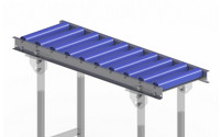 Light-duty roller conveyor with steel frame, plastic rollers