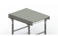 Roller conveyor, steel frame with zinc plated steel rollers