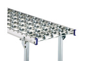 Light duty roller conveyor with aluminium frame, zinc plated steel skate wheels