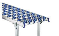 Skate wheel conveyor with aluminium frame, plastic skate wheels