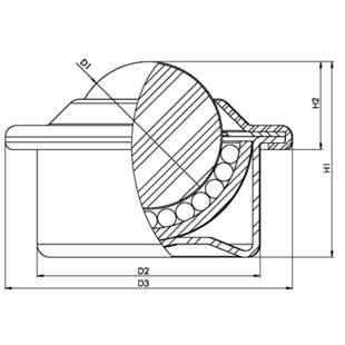 Ball unit with sheet steel housing and flange