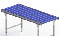Light duty roller conveyor, steel frame with plastic rollers