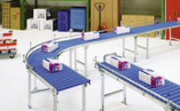 Light duty roller conveyor, aluminium frame with plastic rollers