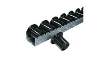 Heavy duty roller track with plastic flanged rollers