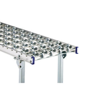 Light duty skate wheel conveyor, aluminium frame with zinc plated steel skate wheels