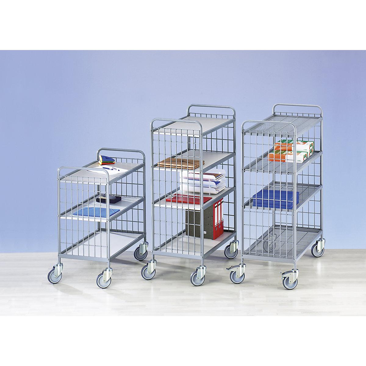 Carrello A Ripiani Per Ufficio Portata 150 Kg Ripiani Pannelli Con Verniciatura Plastica In Grigio Chiaro Kaiser Kraft Italia