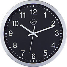 Reloj de pared de plástico ABS, plateado, Ø 300 mm