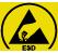 Modèle antistatique. Ce symbole signifie que le produit est un modèle antistatique (en rapport avec l'électricité ou les charges statiques).