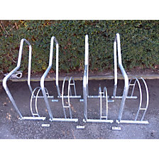 Bicycle racks with support rails