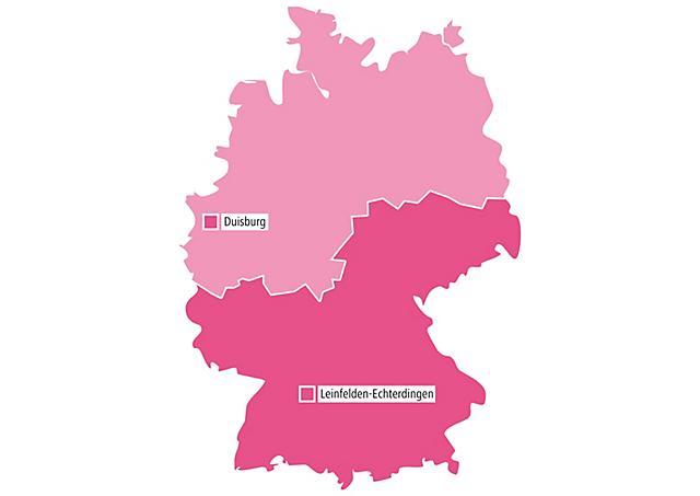 Deutschlandkarte mit den gaerner Standorten