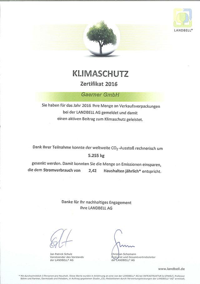 Klimaschutz Zertifikat der Landbell AG
