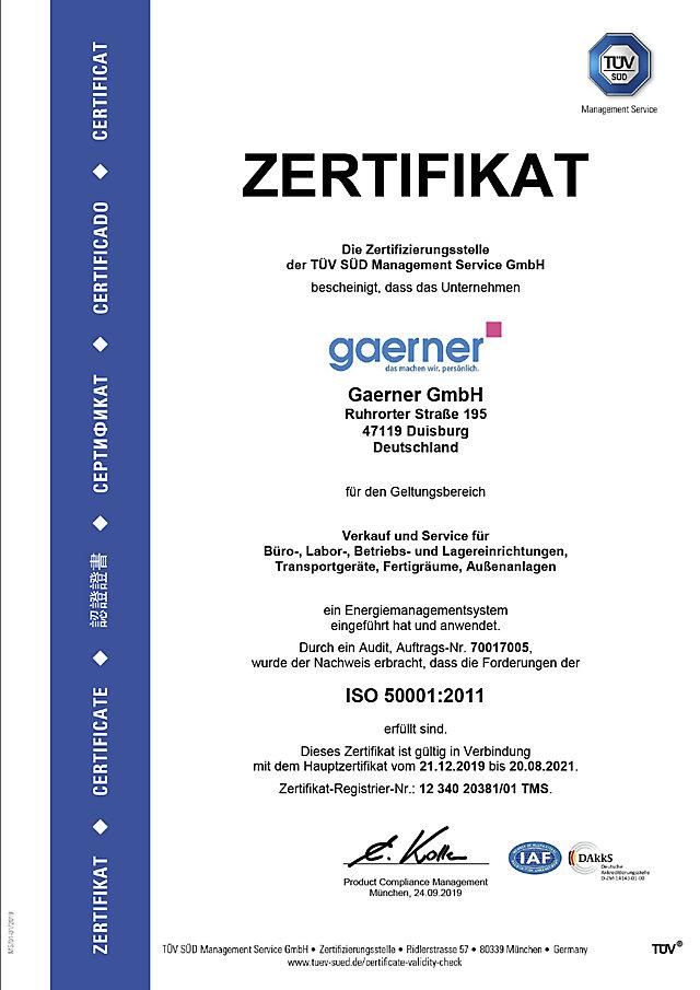 ISO 50001:2011 Zertifikat