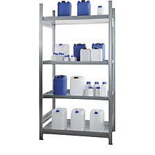 Small container hazardous goods shelf unit with tray shelves