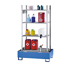 Small container hazardous goods shelving