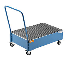 Mobile sump tray made of sheet steel