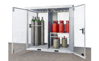 Gas cylinder container, assembled