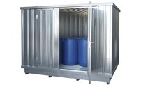 Hazardous goods storage container for water hazardous media