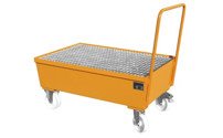 Mobile sump tray, made of sheet steel
