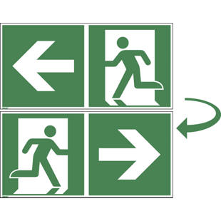 Emergency exit route, double sided