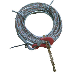 Complete rope with tip and hook for material transport