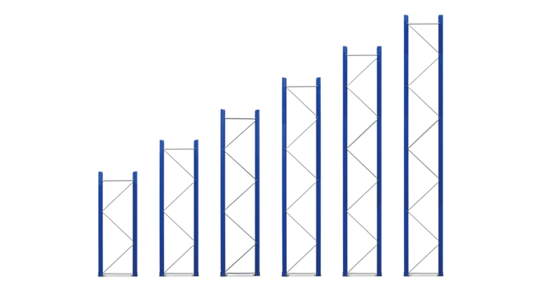 The different frame heights of the EUROKRAFTpro shelving unit