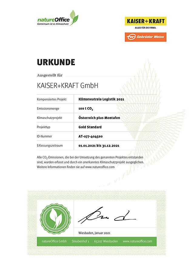 Zertifikat für KAISER+KRAFT als Klimapartner der Gebrüder Weiss