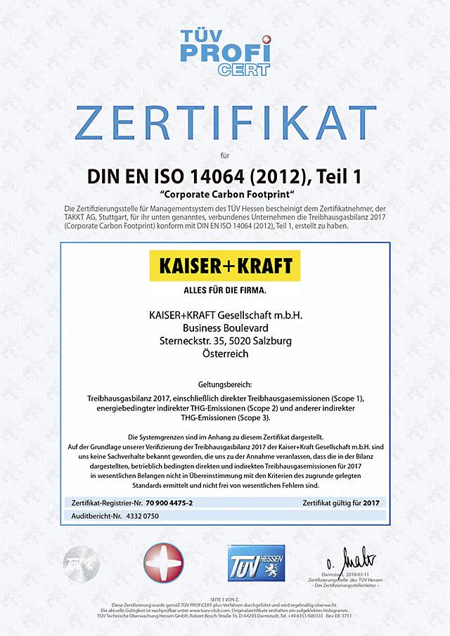 ISO 14064 Zertifikat für Klimabilanz