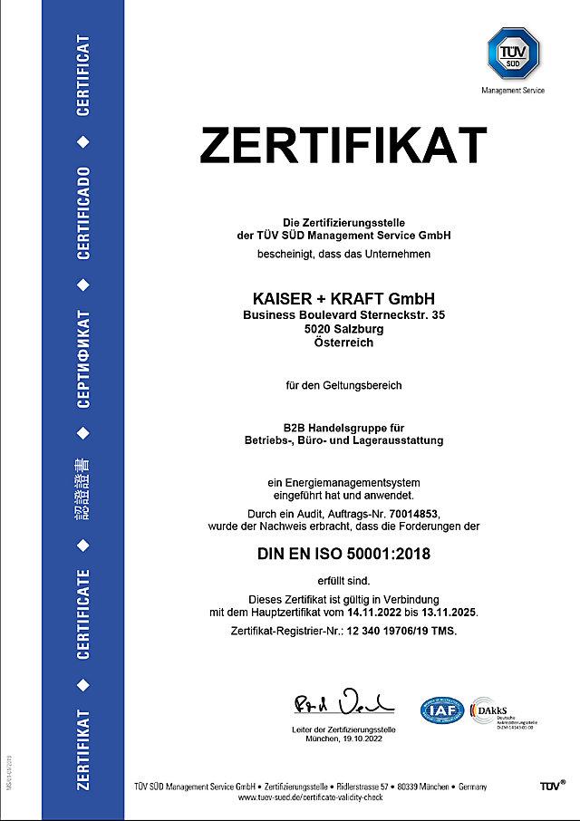 ISO 50001 Zertifikat für Energiemanagement