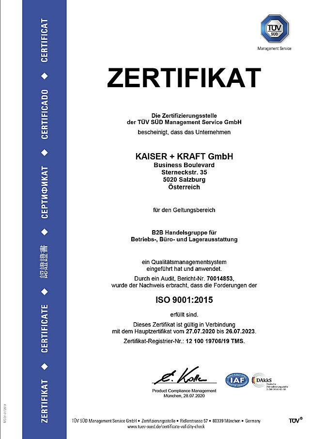 ISO 9001 Zertifikat für Qualität