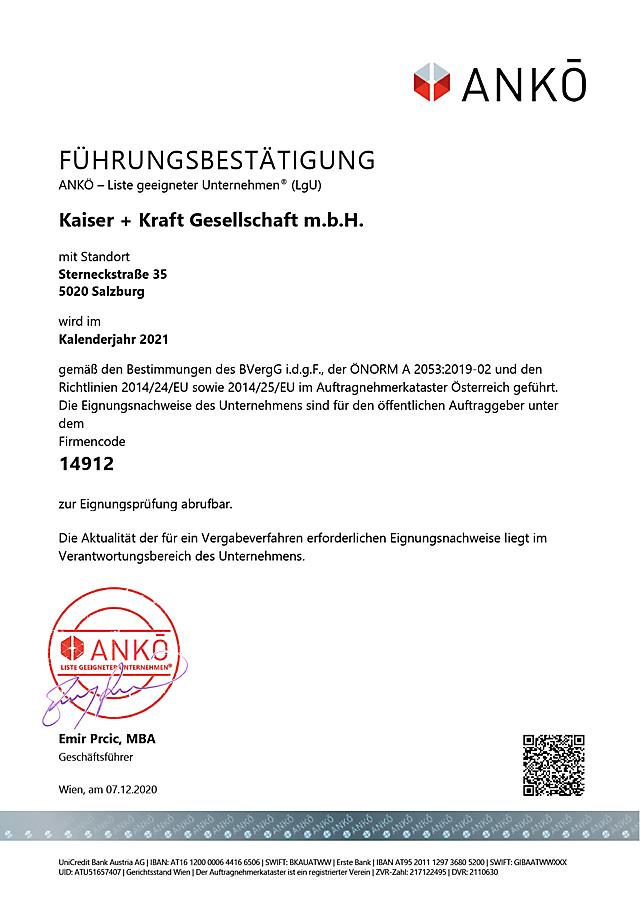 ANKÖ-Zertifikat über KAISER+KRAFT im Auftragnehmerkataster Österreich